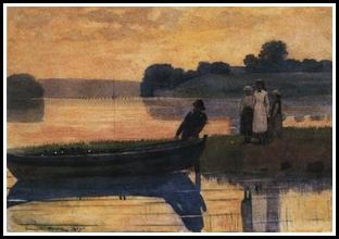 Winslow Homer Sunset Beaching The Boat 1875 os 9x14